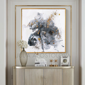 Modern Watercolor Painting, Gray Black White Gold Abstract Wall Art Canvas Print, Office Decor, Home Decor, Embellished Canvas, Interior, Julia Apostolova, Gold Leaf Abstract, Original Painting, Watercolor Painting, Minimalsit, Minimal Art, Large WallArt, Black and White, Abstract Watercolor, Livingroom Decor, Bedroom Art, Trendy Wall Art, Art Gifts, Shining Accents, Textures, Textured Canvas, embellished art, Gray Abstract, Metallic Accents, Gold Leaf Painting, Hotel Decor, Minimal Artwork