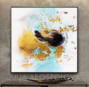 White Black Gold Leaf Watercolor Abstract Canvas Wall Art Decor, Modern Painting by Julia Apostolova