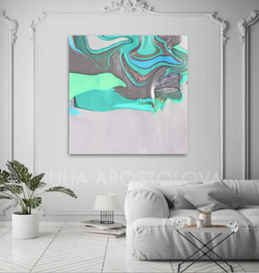 White Silver Gray Turquoise Abstract, Canvas Print, Minimalist Painting, Minimal Art, Modern Decor, Abstract Seascape, Large Wall Art,Fine Artist Julia Apostolova, Interior, Decor, Home Decor, Office Decor, Minimalist, Living Room, Design Interior Designer, Bedroom