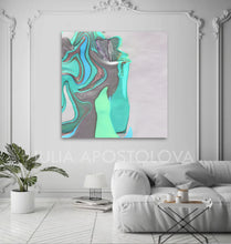 White Silver Gray Turquoise Minimalist Abstract Seascape Minimal Modern Art Print Julia Apostolova