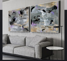 Gold Leaf Abstract Paintings, Gray Black Lilac Wall Art Abstract Canvas Set of Two, ''Elusive'' (1&2), Gold Leaf, Abstract Painting, Julia Apostolova, Diptych, Milky Way, Gray Gold Black, Watercolor Abstract, Canvas Print, Modern Wall Decor, Extra Large Wall Art, Set of Two Abstract Paintings, 2 Canvas Prints, Black Gold Lilac, Julia Apostolova Art, Large Wall Art, interior, design, home decor, interior designer, art collector, livingroom, office decor, bedroom wall art, framed art, gold frame, lobby decor