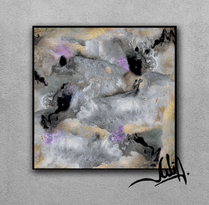 Gold Leaf Abstract Paintings, Gray Black Lilac Wall Art Abstract Canvas Set of Two, 'Elusive'(1&2)