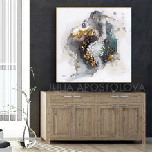 Black White Abstract Painting, Gold Leaf Watercolor Canvas Print, Trending Decor, Julia Apostolova