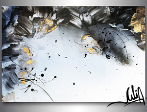 Gold Leaf Painting, Black White Gold Wall Art, Elegant Abstract Painting, Textured Canvas Print, Julia Apostolova, Black and White Art, Minimalist Painting, Luxury Wall Art Decor, Modern, Contemporary, Wall Art Decor, Interior,