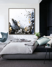 Black White Gold Wall Art, Elegant Abstract Painting with Gold Leaf, Textured Canvas Print, Julia Apostolova, Black and White Art, Minimalist Painting, Modern, Contemporary, Wall Art Decor, Interior, Luxury