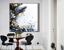 Black White Gold Elegant Abstract Painting with Gold Leaf, Textured Canvas Print by Julia Apostolova