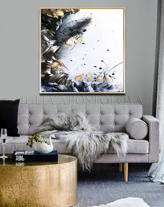 Black White Gold Wall Art, Elegant Abstract Painting with Gold Leaf, Textured Canvas Print, Julia Apostolova, Gold Leaf Painting, Black and White Art, Minimalist Painting, Modern, Contemporary, Wall Art Decor, Interior, Luxury, Modern Watercolor Painting, Gray Black White Gold Abstract Wall Art Canvas Print, Office Decor, Home Decor, Embellished Canvas, Gold Leaf Abstract, Abstract Watercolor, Livingroom Decor, Bedroom Art, Trendy Wall Art, Art Gifts, Shining Accents, Textured Canvas, Minimal Artwork