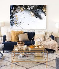 Gold Leaf Painting, Black White Gold Wall Art, Elegant Abstract Painting, Textured Canvas Print, Julia Apostolova, Black and White Art, Minimalist Painting, Luxury Wall Art Decor, Modern, Contemporary, Wall Art Decor, Interior, Glam Wall Art, Glam Decor