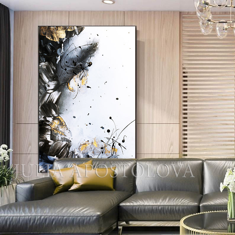 Gold Leaf Painting, Black White Gold Wall Art, Elegant Abstract Painting, Textured Canvas Print, Julia Apostolova, Black and White Art, Minimalist Painting, Luxury Wall Art Decor, Modern, Contemporary, Wall Art Decor, Interior, Glam Wall Art, Glam Decor, Livingroom