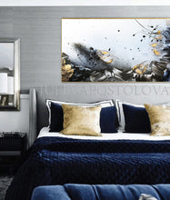 Gold Leaf Painting, Black White Gold Wall Art, Elegant Abstract Painting, Textured Canvas Print, Julia Apostolova, Bedroom Wall Decor, Black and White Art, Minimalist Painting, Luxury Wall Art Decor, Modern, Contemporary, Wall Art Decor, Interior, Glam Wall Art, Glam Decor