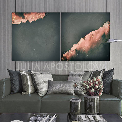 set of two, cloud paintings, cloudscape, 2 wall art, scandinavian design, nordic style, minimal wall art, minimalist painting, cloud print, cloudscape wall art, dreamy art, scandinavian art, nordic design, scandinavian design style, julia apostolova, gray, grey, rose gold, pink, watercolour, watercolor print, modern wall decor, wall art decor, wall art, contemporary two abstract prints, abstract painting, modern decor, canvas prints, zen, bedroom painting, minimalist art, bedroom art, livingroom, bathroom