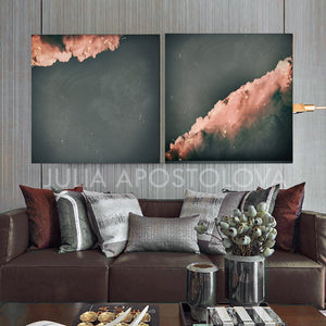 Two Minimalist Abstract Cloud Paintings, Two Canvas Prints Wall Art Set, Nordic Style Minimal Art