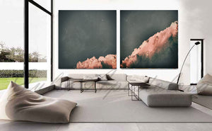 set of two cloud paintings, cloudscape, 2 wall art, scandinavian design, nordic style, minimal wall art, minimalist painting, cloud print, cloudscape wall art, dreamy art, scandinavian art, nordic design, scandinavian design style, julia apostolova, gray, grey, rose gold, pink, watercolour, watercolor print, modern wall decor, wall art decor, wall art, contemporary two abstract prints, abstract painting, modern decor, canvas prints, zen, bedroom painting, minimalist art, bedroom art, livingroom, bathroom