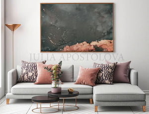 cloud painting, cloudscape, scandinavian design, nordic style, minimal wall art, minimalist painting, cloud print, cloudscape wall art, dreamy art, scandinavian art, nordic design, scandinavian design style, julia apostolova, gray, grey, rose gold, pink, watercolour, watercolor print, modern wall decor, wall art decor, wall art, contemporary two abstract prints, abstract painting, modern decor, canvas prints, zen, bedroom painting, minimalist art, bedroom art, livingroom, bathroom