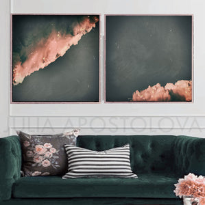 large cloud wall art set, set of two cloud paintings, cloudscape, 2 wall art, scandinavian design, nordic style, minimal wall art, minimalist painting, cloud print, cloudscape wall art, dreamy art, scandinavian art, nordic design, scandinavian design style, julia apostolova, gray, grey, rose gold, pink, watercolour, watercolor print, modern wall decor, wall art decor, wall art, contemporary two abstract prints, abstract painting, modern decor, canvas prints, zen, bedroom painting, minimalist art, bedroom