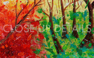 Forest Painting, Huge Original Painting Abstract Forest Art, Spring Decor, Colorful Landscape, Trees, Colorful Wall Art, Bold Colors, Rich Textures, Ready to Hang, Floating Frame, pop color, living room, Original Abstract Oil Painting, artist Julia Apostolova, dining room, master bedroom art, kids wall art decor, lobby decor, colorfrl abstract, oil painting, huge art, interior design ideas, interior decor, pop decor, pop wall art, livingroom decor, art gift for her, large art, giant art, artwork, splash art