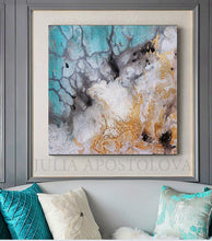 Watercolor Abstract Painting Gold Leaf Canvas Art, gold leaf watercolor, julia apostolova, iceland painting, abstract watercolor, seascape abstract, seascape, abstract seascape painting, Iceland from Above  office wall art, gold leaf abstract canvas, gold leaf abstract art, interior decor, livingrom, interior designer, modern decor, office decor, luxury art