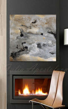 Diptych 'Milky Way', Set of Two Abstract Paintings, Gold Gray Black Wall Art Prints Julia Apostolova