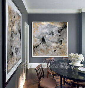 Milky Way, Gold Leaf, Abstract Painting, Gray Gold Black, Watercolor Abstract, Canvas Print, Modern Wall Decor, Julia Apostolova, Extra Large Wall Art, Set of Two Abstract Paintings, 2 Canvas Prints Black Gold Teal Julia Apostolova, Large Wall Art, interior, design, home decor, interior designer, art collector
