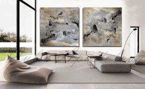 Diptych, Milky Way, Gold Leaf, Abstract Painting, Gray Gold Black, Watercolor Abstract, Canvas Print, Modern Wall Decor, Julia Apostolova, Extra Large Wall Art, Set of Two Abstract Paintings, 2 Canvas Prints Black Gold Teal Julia Apostolova, Large Wall Art, interior, design, home decor, interior designer, art collector