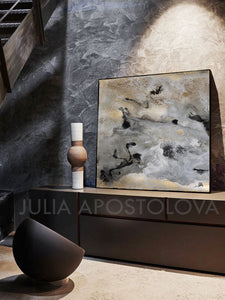 Gray Black Gold Wall Art 'Milky Way'(2), Modern Abstract Gold Leaf Painting Print, Julia Apostolova