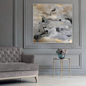 Gray Black Gold Wall Art 'Milky Way' Part 2, Modern Abstract Gold Leaf Painting Print, Julia Apostolova Art, Watercolor Abstract, Gray Gold Black Art, Gold Leaf Painting Print 'Milky Way' Part 2 by Julia Apostolova, Interior Decor, Contemporary Art, Hotel Lobby Decor, Office Decor, Wall Art, Luxury Art Decor, Glam Decor, Gold Leaf Wall Art Abstract Watercolor Canvas, Bedroom, Living Room
