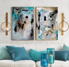 Huge Wall Art Set Abstract Paintings, Two Canvas Prints, Gold Leaf Black Gray Teal, Julia Apostolova