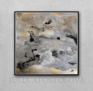 Gray Black Gold Wall Art 'Milky Way' Part 2, Modern Abstract Gold Leaf Painting Print, Julia Apostolova Art, Watercolor Abstract, Gray Gold Black Art, Gold Leaf Painting Print by Julia Apostolova, Interior Decor, Contemporary Art, Hotel Lobby Decor, Office Decor, Wall Art, Luxury Art Decor, Glam Decor, Gold Leaf Wall Art Abstract Watercolor Canvas, Bedroom, Living Room