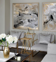 Gray Black Gold Wall Art 'Milky Way' Part 2 by Julia Apostolova, Diptych, Modern Abstract Gold Leaf Painting Print, Julia Apostolova Art, Watercolor Abstract, Gray Gold Black Art, Gold Leaf Painting Print, Interior Decor, Contemporary Art, Hotel Lobby Decor, Office Decor, Wall Art, Luxury Art Decor, Glam Decor, Gold Leaf Wall Art Abstract Watercolor Canvas, Bedroom, Living Room