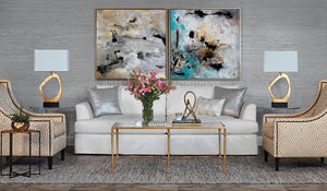 Gray Gold Black Wall Art Abstract Painting Canvas Print, Modern Gold Leaf Art 'Calm After The Storm', luxury art. glam decor, gold leaf painting, interior design, julia apostolova, interior designer, abstract watercolor, canvas print, wall decor, interior, large wall art, grey wall art, gray wall art, shining accents, golden details, living room, dinning room, lobby hotel decor, office, bedroom, contemporary, milky way, julia apostolova art, diptych,