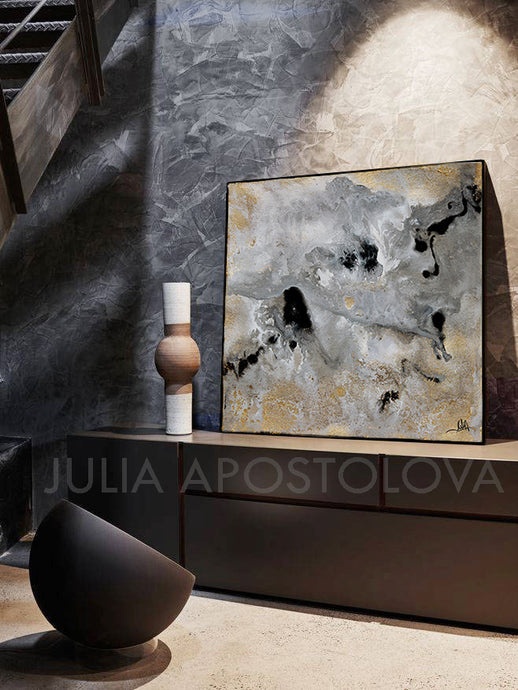 Watercolor Abstract, Gray Gold Black Art, Gold Leaf Painting Print 'Milky Way'(1)by Julia Apostolova