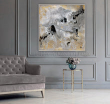 Watercolor Abstract, Gray Gold Black Art, Gold Leaf Painting Print 'Milky Way' Part 1 by Julia Apostolova, Interior Decor, Contemporary Art, Hotel Lobby Decor, Office Decor, Wall Art, Luxury Art Decor, Glam Decor, Gold Leaf Wall Art Abstract Watercolor Canvas, Bedroom, Living Room