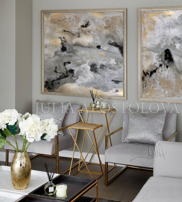 Diptych 'Milky Way', Set of Two Abstract Paintings, Gold Gray Black Wall Art Prints, Julia Apostolova