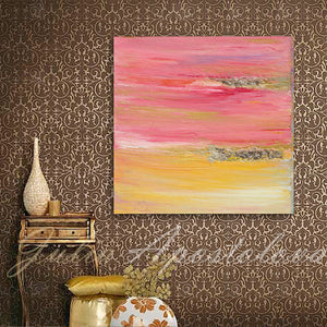 Pink Yellow Gold Abstract Print, Minima Art, Pink Yellow Gold, Interior, Decor, Livingroom, Interior Designer, Square Painting, Gold Leaf, Large Wall Art, ''The Light Of Peace Love And Hope'' Part 1