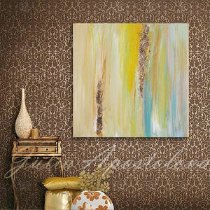 Yellow Gold Blue Abstract Print, Gold Leaf, Interior Designer, Minimalist Painting, Interior, Design, Decor, Modern, Livingroom, Large Wall Art, ''The Light Of Peace Love And Hope'' Part 2