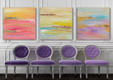 Pink Yellow Gold Abstract Print, Triptych, Minima Art, Pink Yellow Gold, Interior, Decor, Livingroom, Interior Designer, Square Painting, Gold Leaf, Large Wall Art, ''The Light Of Peace Love And Hope'' Part 1