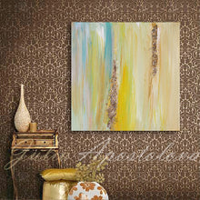 Yellow Gold Blue Abstract Print, Gold Leaf, Interior Designer, Minimalist Painting, Interior, Design, Decor, Modern, Large Wall Art, ''The Light Of Peace Love And Hope'' Part 2