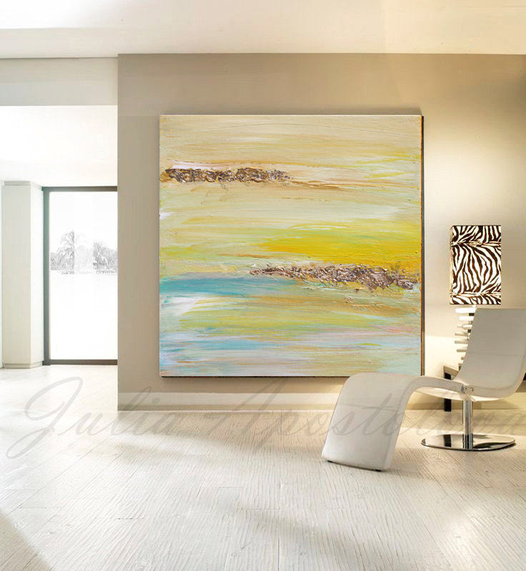 Yellow Gold Blue Abstract Print, Gold Leaf, Minimalist Painting, Interior, Design, Decor, Modern, Large Wall Art, ''The Light Of Peace Love And Hope'' Part 2