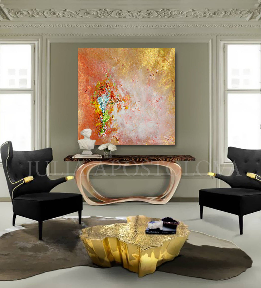 Large Wall Art Abstract, Gold Copper, Minimal Canvas Print, Minimalist Painting, Abstract Print, Modern Home Decor, Interior, InteriorDesigner, Zen Art by Julia Apostolova