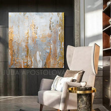 Minimalist Elegant Gray Gold Wall Art Set of Two Abstract Canvas Paintings with Gold Leaf Details