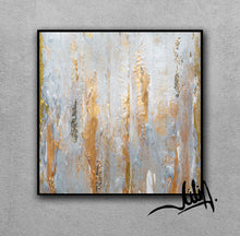 Gray Gold Abstract Gold Leaf Art Original Minimalist Painting Elegant Luxury Decor, Julia Apostolova