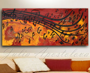 Musical Abstract Art, Music Painting Print, Large Wall Art, 'Dancing Musical Notes' Julia Apostolova, Musical Interior, Musical Print, Office Art, Home Decor, School Deceor, Musical Academy, notes, fa sol key