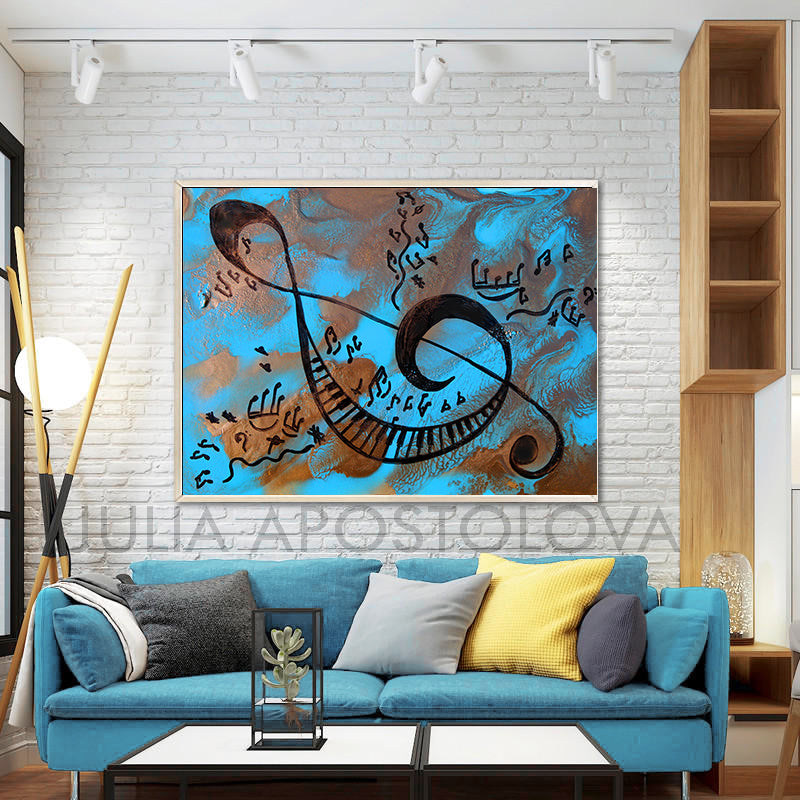 Blue Musical Painting, Canvas Print with Sol Key, Piano, Music Notes, Gift for Him and Music Lovers