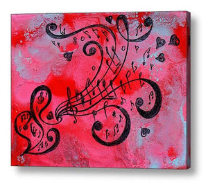 Pink Musical Painting, Love Art, Girl Room Wall Art Decort, Canvas Print with Music Notes and Hearts