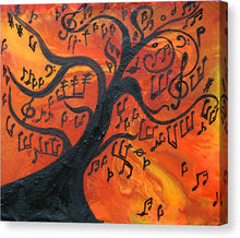 Musical Tree Abstract Painting with Musical Notes, Canvas Wall Art Print, Music Gift, Modern Decor