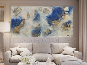 Navy Blue Gold Leaf Art, Huge Original Painting, Luxury Minimalist Decor, Artist JuliaApostolova, Gold Leaf Art, Glam Decor, Interior, Design, Large Wall Art, Living Room Art, Bedroom Art, Blue and Gold, Gold Leaf Wall Art, Interior, Home Decor