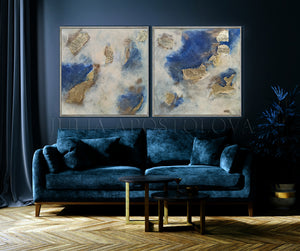 Diptych, Set of two paintings, Blue and Gold, Gold Leaf Wall Art, Interior, Home Decor,Huge Original Painting, Navy Blue Gold Leaf Art for Luxury Minimalist Decor, Artist Julia Apostolova, Gold Leaf Art, Glam Decor, Interior, Design, Large Wall Art, Dining Room,  Livingroom