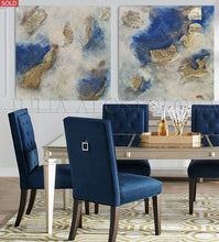 Huge Original Painting, Navy Blue Gold Leaf Art for Luxury Minimalist Decor, Artist JuliaApostolova, Gold Leaf Art, Glam Decor, Interior, Design, Large Wall Art, Dining Room
