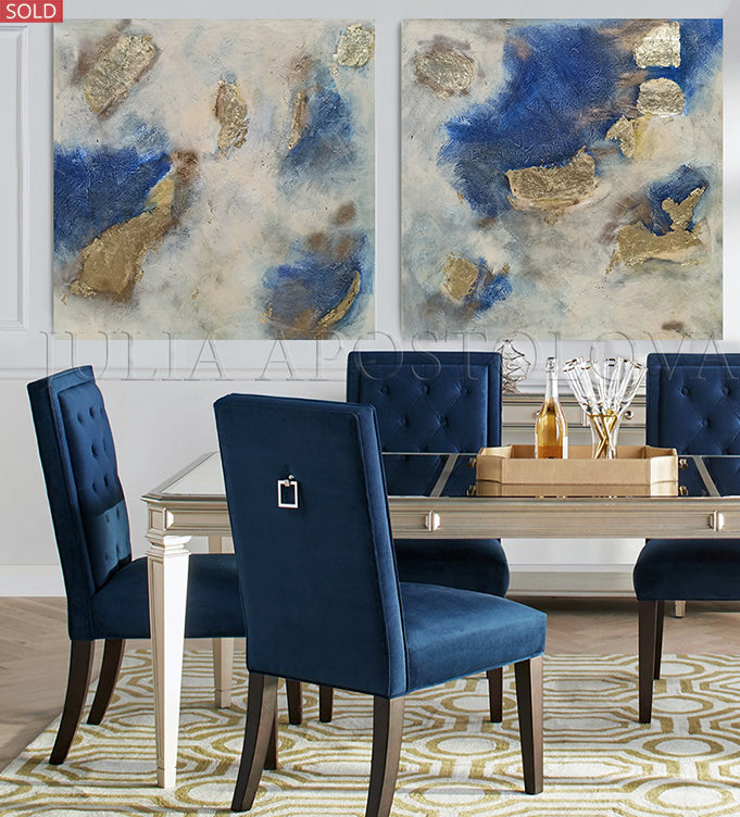 Huge Original Painting, Navy Blue Gold Leaf Art for Luxury Minimalist Decor, Artist Julia Apostolova, Gold Leaf Art, Glam Decor, Interior, Design, Large Wall Art, Dining Room, Blue and Gold, Gold Leaf Wall Art, Interior, Home Decor, Livingroom