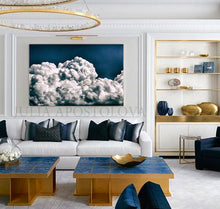 Navy Blue Painting, Cloud Wall Art, Julia Apostolova, Abstract Cloudscape, Trend Art, Textured Canvas, Dark Blue Wall Art, Large Cloud Painting, Cloud Oil Painting, Bedroom Decor, Interior, Trendy, Trend Decor, Living Room, Blue Painting, Blue Art, Naby Blue Decor, Art over Bed, Large Wall Art, Interior Designer